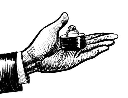 Hand giving wedding ring. Ink black and white drawing Stockfoto