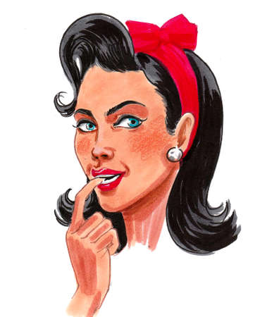 Pretty pin up woman. Ink and watercolor drawing Imagens
