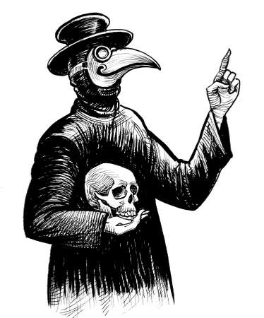 Plague doctor with human skull. Ink black and white drawing Stockfoto