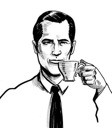 Man drinking coffee from the cup. Ink black and white drawing Imagens