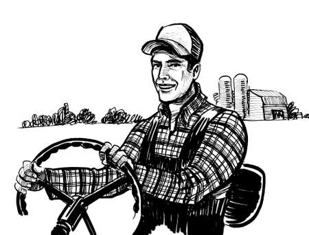 Happy farmer driving a tractor with a farm in the background. Ink black  and white drawing