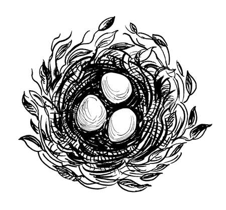 Bird's nest with three eggs. Ink black and white drawing Imagens