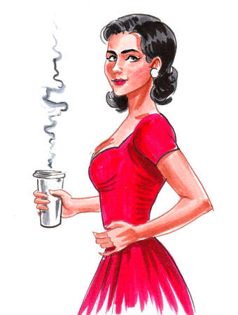 Pretty woman in red dress with a cup of coffee. Ink and watercolor drawing