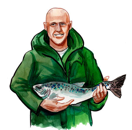 Happy bald man with a caught salmon fish. Ink and watercolor drawing