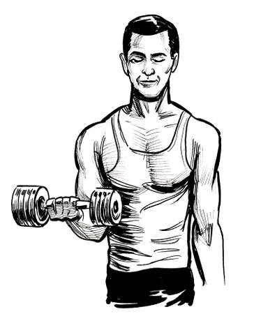 Healthy man lifting dumbbell. Ink black and white drawing