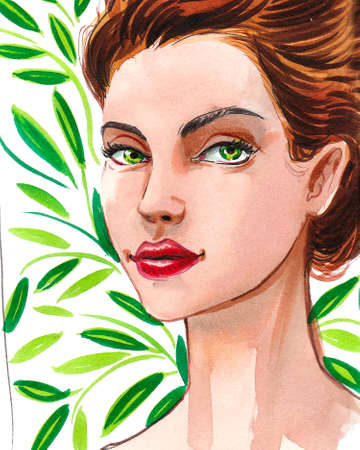 Beautiful woman with green eyes and  green, leaves. Ink and watercolor painting