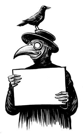 Medieval plague doctor with a raven on head holding a blank sheet paper