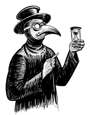 Plague doctor pointing to the sand clock. Ink black and white drawing