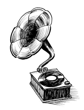 Phonograph with vinyl record. Ink black and white drawing
