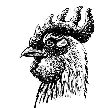 Rooster head. Ink black and white drawing