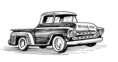 Vintage American truck. Ink black and white drawing 스톡 콘텐츠