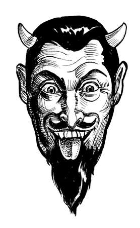 Laughing Satan. Ink black and white drawing 스톡 콘텐츠