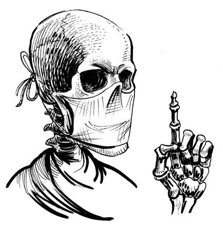 Human skeleton in medical mask pointing up. Ink black and white drawing