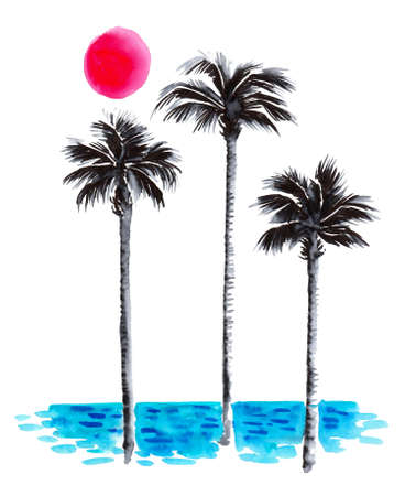 Three palm trees, ocean and sun. Ink and watercolor drawing 스톡 콘텐츠