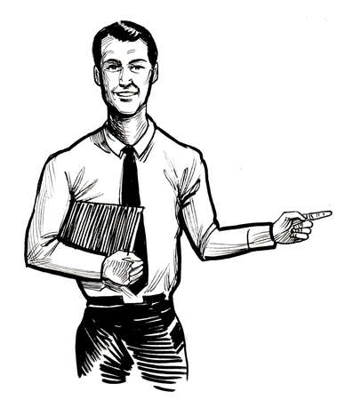 Businessman pointing right. Ink black and white drawing