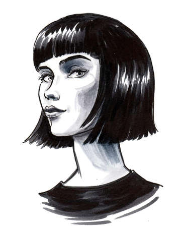 Beautiful woman with haircut. Ink black and white drawing Stockfoto