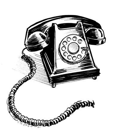 Retro rotary telephone. Ink black and white drawing