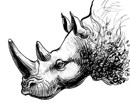 Rhinoceros animal head. Ink black and white drawing