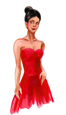 Beautiful woman in red dress. Ink and watercolor drawing Stockfoto