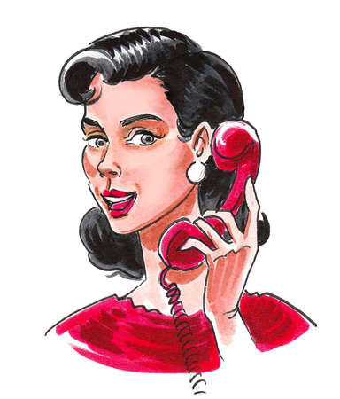 Pretty woman speaking over retro telephone. Ink and watercolor drawing Stockfoto