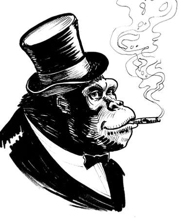 Gorilla boss smoking a cigar. Ink black and white drawing
