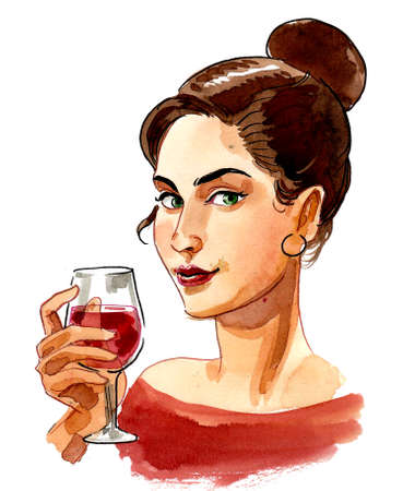 Pretty lady drinking a glass of red wine. Ink and watercolor drawing