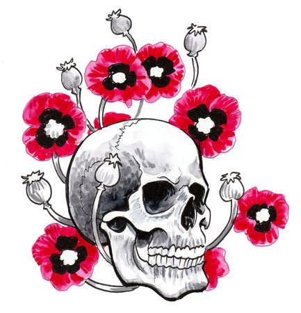 Human skull and red poppy flowers. Ink and watercolor drawing Stockfoto