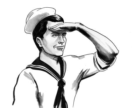 Sailor looking into the distance. Ink black and white drawing