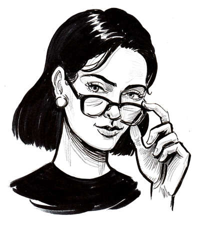 Pretty woman looking over the glasses. Ink black and white drawing