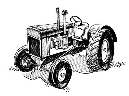 Vintage tractor. Ink black and white drawing Stockfoto