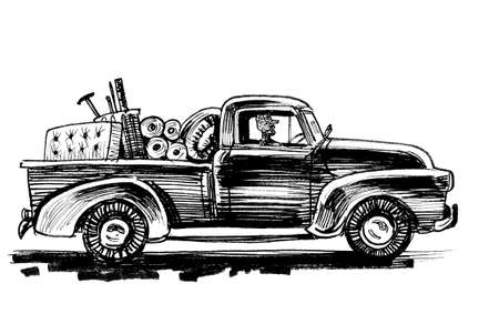 Retro truck. Ink black and white drawing Stock Photo