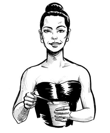 Pretty woman eating cereal. Ink black and white drawing Stock Photo