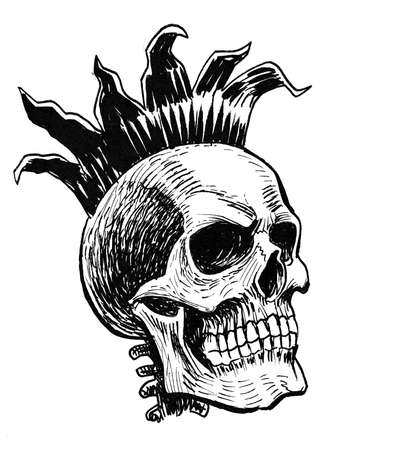 Human skull in iron crown. Ink black and white drawing Foto de archivo