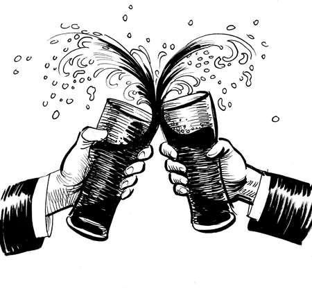 Two hands with beer glasses toasting. Ink black and white drawing Banque d'images