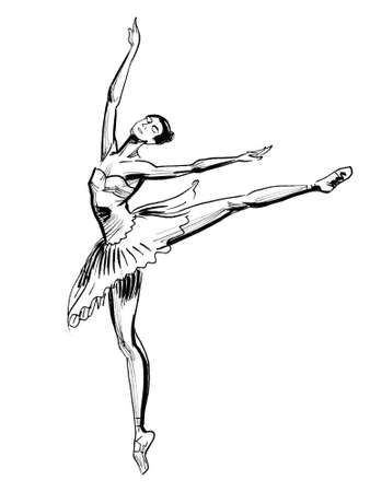 Dancing ballerina. Ink black and white drawing Banque d'images