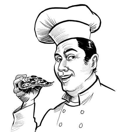 Happy chef eating a slice of pizza. Ink black and white drawing Banque d'images