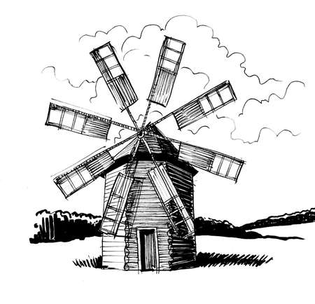 Windmill in the countryside. Ink black and white drawing Banque d'images