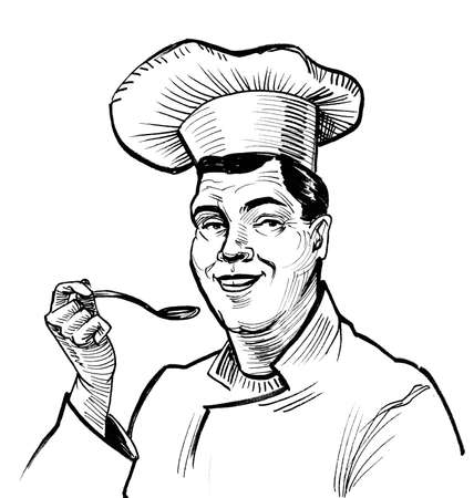 Chef tasting a soup with a spoon. Ink black and white drawing