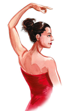 Beautiful Flamenco dancer. Ink and watercolor drawing