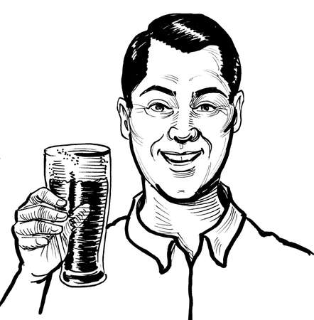 Happy smiling man drinking a glass of beer. Ink black and white drawing Banque d'images