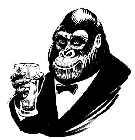 Happy gorilla ape drinking a glass of beer. Ink black and white drawing