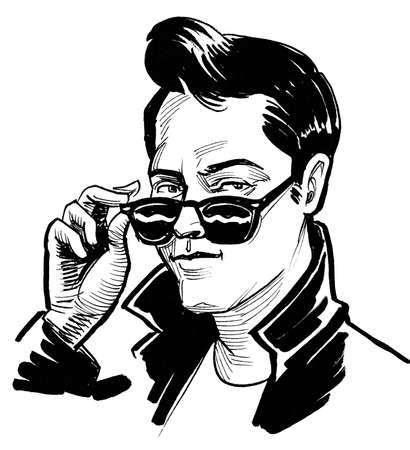 Cool looking young man in sun glasses. Ink black and white drawing
