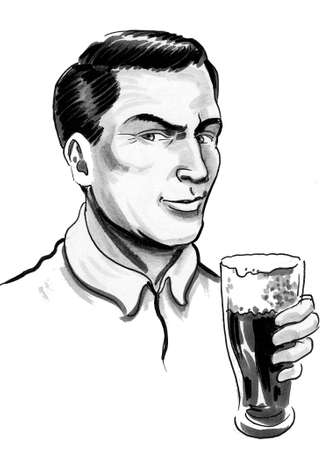 Handsome man drinking a pint glass of beer. ink black and white drawing