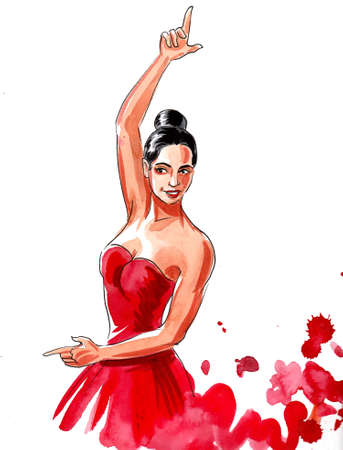 Beautiful Flamenco dancer in red dress. Ink and watercolor drawing