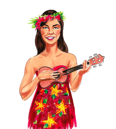 Pretty Hawaiian woman playing a guitar. Ink and watercolor drawing Banque d'images
