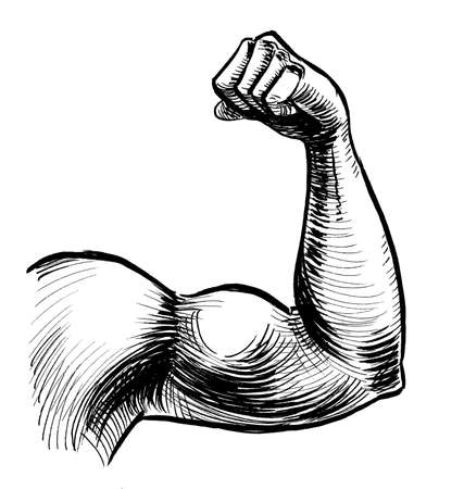Strong hand flexing biceps. Ink black and white drawing