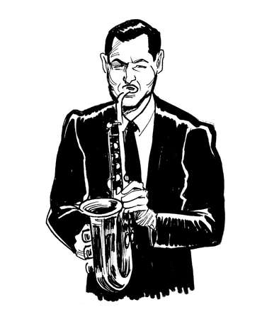Jazz musician playing saxophone. Ink black and white drawing