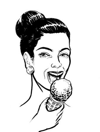 Black and white drawing of a pretty girl eating an ice cream. Banque d'images