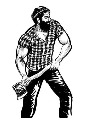 Strong lumberjack cutting tree with ax. Ink black and white drawing