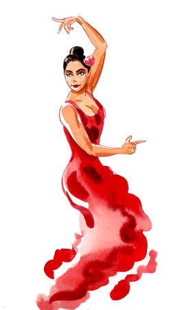 Pretty Flamenco dancer in red dress. Ink and watercolor drawing Banque d'images